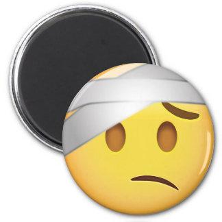 Gesicht mit Kopf-Verband Emoji Runder Magnet 5,1 Cm