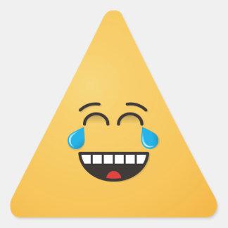 Gesicht mit Rissen der Freude Dreieckiger Aufkleber