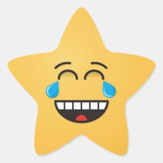 Gesicht mit Rissen der Freude Stern-Aufkleber