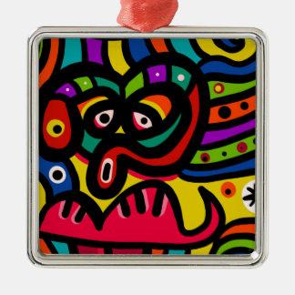 Gesicht Quadratisches Silberfarbenes Ornament