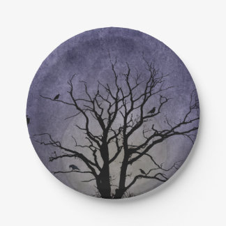 Gespenstische Baum-Halloween-Drucke Pappteller