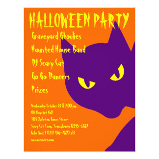 Gespenstische Halloween-Partykitty-Katze beängstig Bedruckte Flyer