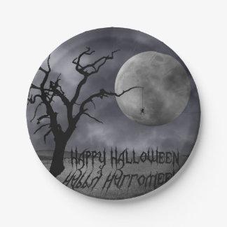 Gespenstische Landschaft Halloween - Pappteller