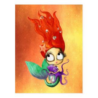 Gespenstische Meerjungfrau mit Krake Postkarte