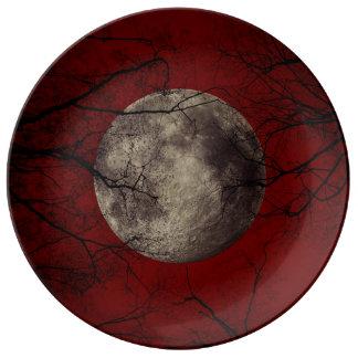 Gespenstische Mond-Halloween-Drucke Teller