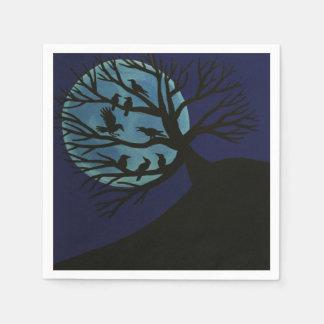 Gespenstische Raben-Baum-Servietten Papierservietten