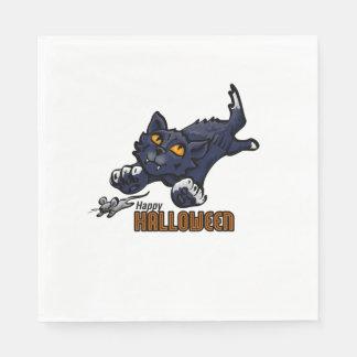 Gespenstische schwarze Katze und Maus Servietten