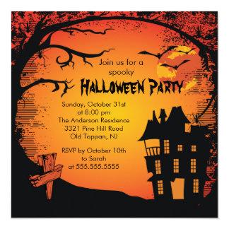 Gespenstische Spuk Haus-Halloween-Party-Einladung Karte