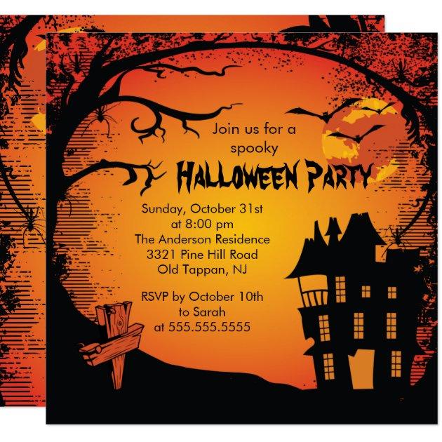 Gespenstische Spuk Haus Halloween Party Einladung Quadratische 13,  Einladungsentwurf