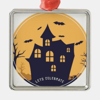 Gespenstische Villa und Schläger Halloweens Silbernes Ornament