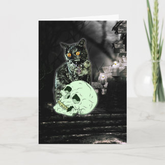 Gespenstische Zombie-Katzen-Halloween-Karte Karte