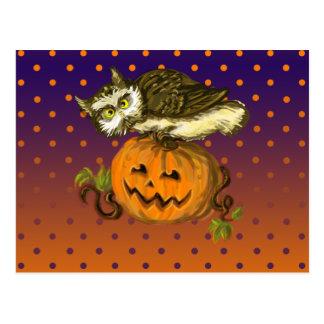 Gespenstischer Eule Halloween-Kürbis Postkarte