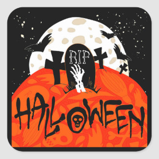 Gespenstischer Friedhof Halloweens schlägt Quadratischer Aufkleber