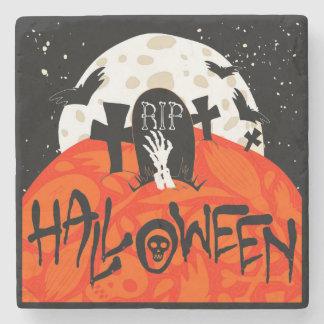 Gespenstischer Friedhof Halloweens schlägt Steinuntersetzer