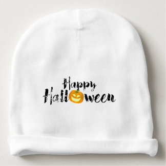 Gespenstischer glücklicher Halloween-Text mit Babymütze