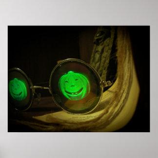 Gespenstischer Halloween-Kürbis-Hologramm-Spezifik Poster