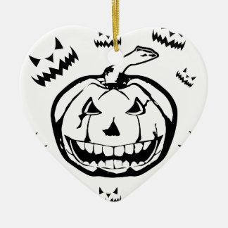 Gespenstischer Kürbis Keramik Herz-Ornament
