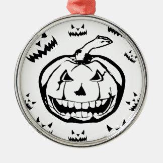 Gespenstischer Kürbis Rundes Silberfarbenes Ornament
