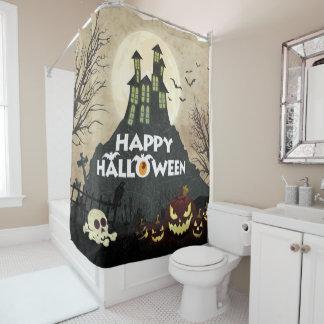 Gespenstischer Spuk Haus-Kostüm-Nachthimmel Duschvorhang