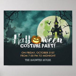 Gespenstischer Spuk Haus-Kostüm-Nachthimmel Poster