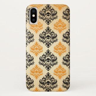 Gespenstisches Schädel-Muster-Schwarz-orange Gold iPhone X Hülle