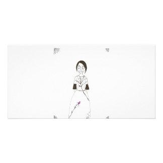Gespenstisches Spinnen-Mädchen Photo Grußkarte