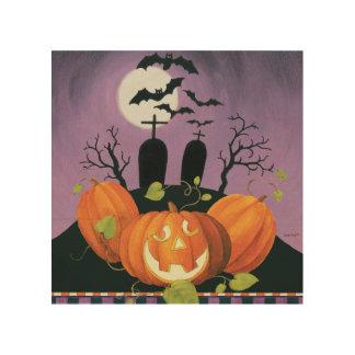 Gespenstisches Spuk Haus Halloweens Holzleinwand