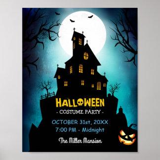 Gespenstisches Spuk Haus-Kostüm-Halloween-Party Poster