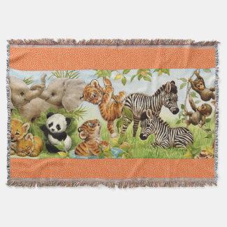 Gesponnener Dschungel-Baby-kundenspezifischer Wurf Decke