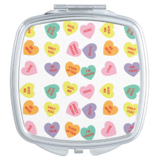 Gesprächs-Süßigkeits-Herz-kompakter Spiegel Taschenspiegel