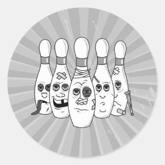 gesprengte oben Bowlingsstiftgrau Runde Sticker
