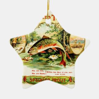 Gesprenkelte Forelle-Vintage Kunst Keramik Ornament