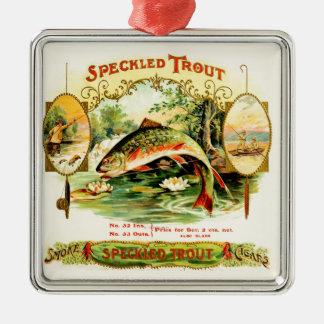 Gesprenkelte Forelle-Vintage Kunst Silbernes Ornament