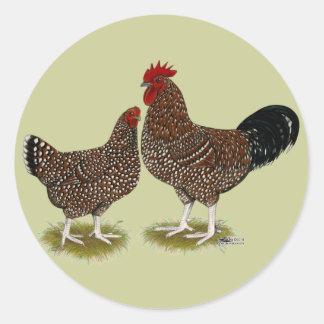 Gesprenkelte Sussex-Hühner Runder Aufkleber