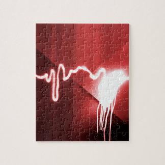 Gesprühte Graffiti auf rotem Metall Puzzle