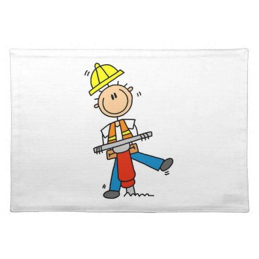 Gestalt-T-Shirts und Geschenke des Bauarbeiter-I Tischsets