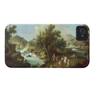 Gestalten Sie mit einem Fluss und Tanzen-Bauern iPhone 4 Case-Mate Hülle