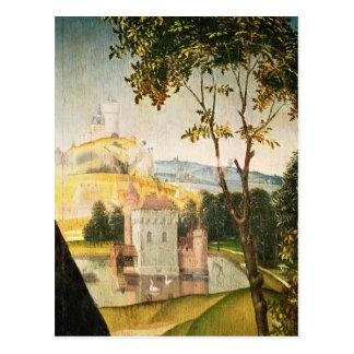 Gestalten Sie mit Schloss in einem Burggraben und Postkarte