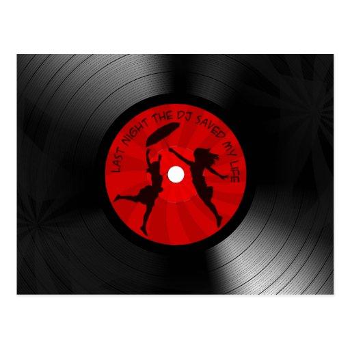 Gestern Abend rettete das DJ mein Leben-Vinylaufze Postkarten
