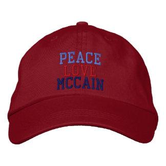Gestickte FriedensLiebe McCain Ball-Kappe Baseballkappe