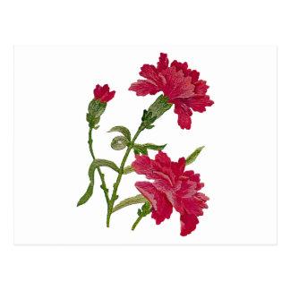 Gestickte rote Gartennelken Postkarte