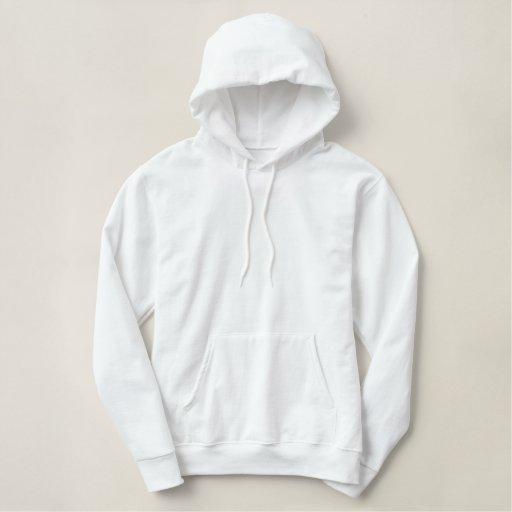 Weiß Besticktes Basic Hoodie