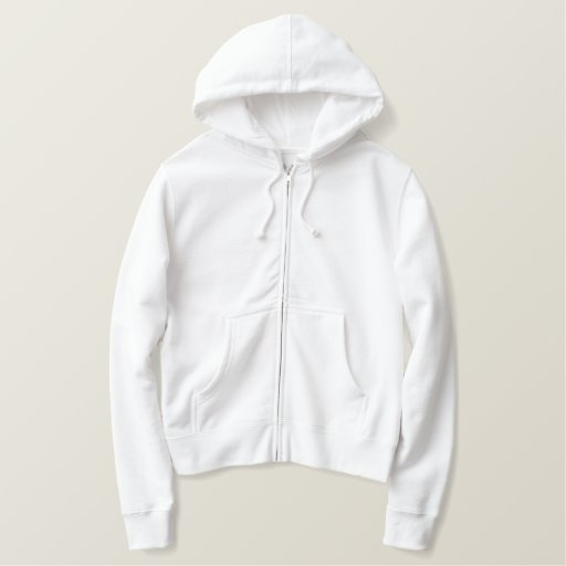 White Embroidered Ladies Zip Hoodie