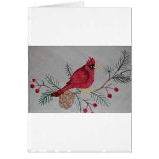 Gestickter Kardinal Grußkarte