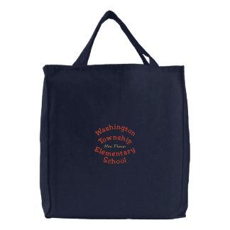 Gesticktes Bag2 mit Schulnamen und -lehrer Leinentasche