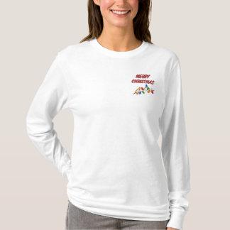 Gesticktes FROHE WEIHNACHTEN Damen-Shirt Besticktes Langarmshirt