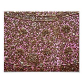 Gesticktes rosa Gewebe Neu-Delhi Indien Fotodruck