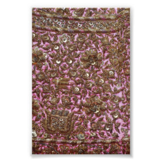 Gesticktes rosa Gewebe Neu-Delhi Indien Photographischer Druck