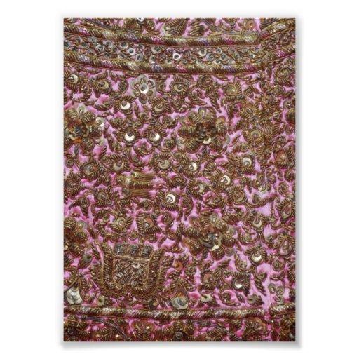 Gesticktes rosa Gewebe Neu-Delhi Indien Fotografische Drucke