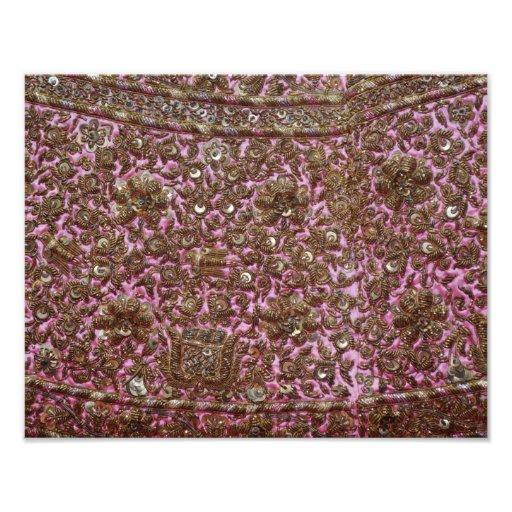Gesticktes rosa Gewebe Neu-Delhi Indien Fotografien
